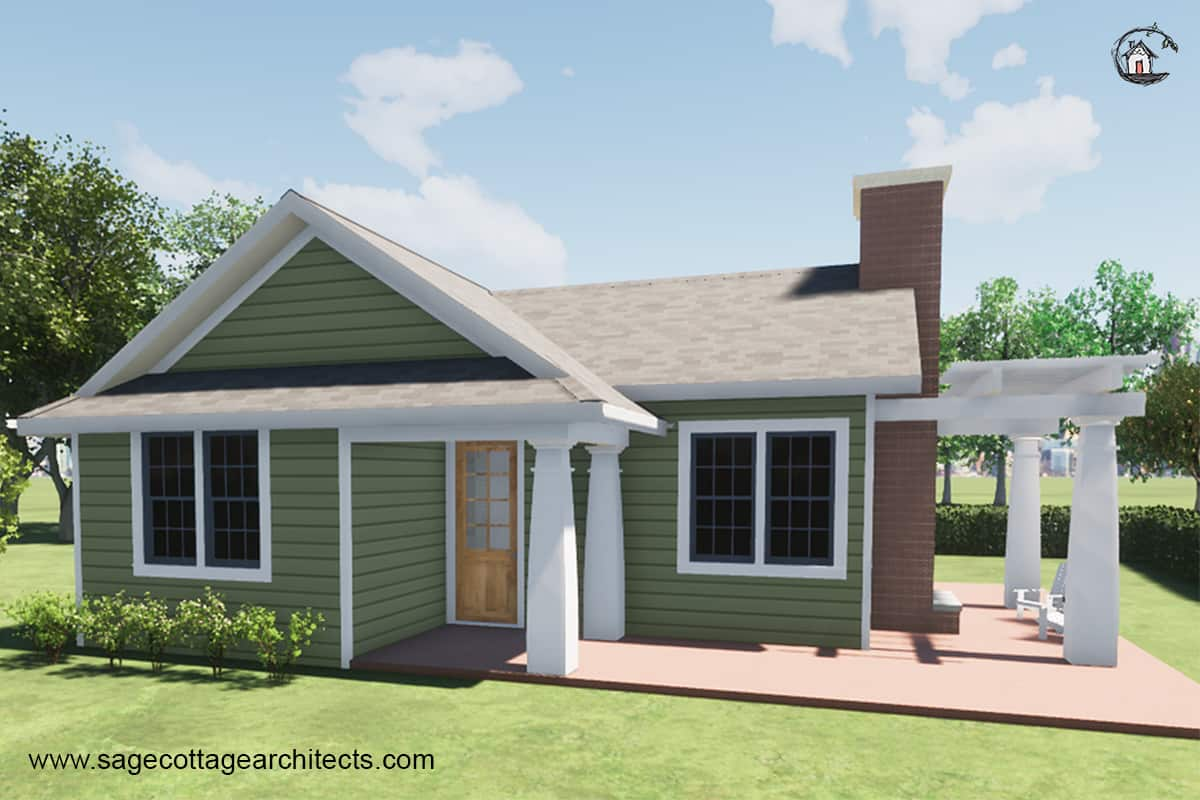 Photo of a traditional style granny flat with green siding and white columns.