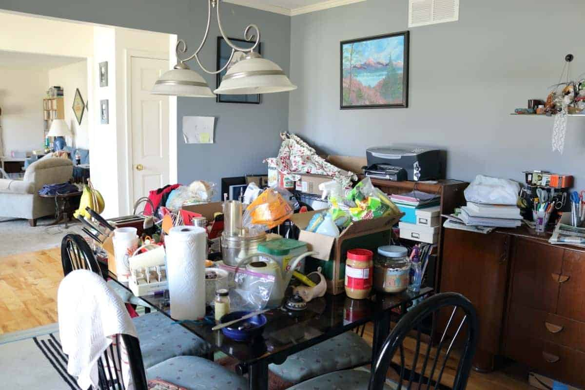 Cluttered dining room during kitchen remodel