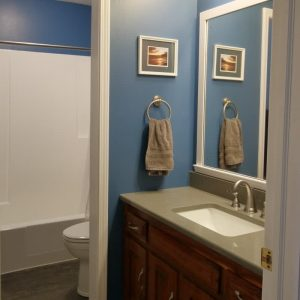 Bathroom remodel in dark grey and blue with white trim
