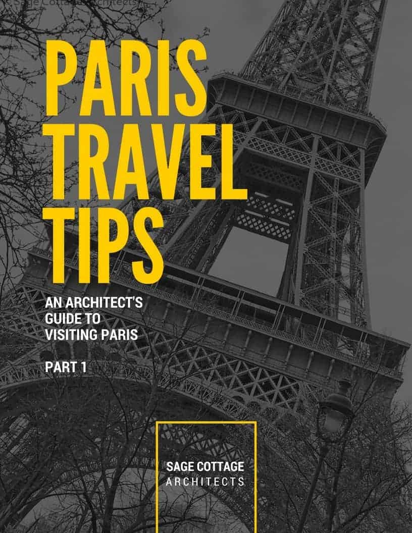 Paris travel tips graphic with the Eiffel tower in the background