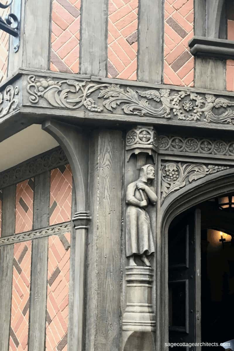 Carved wooden entrance to a building in Walt Disney World Epcot