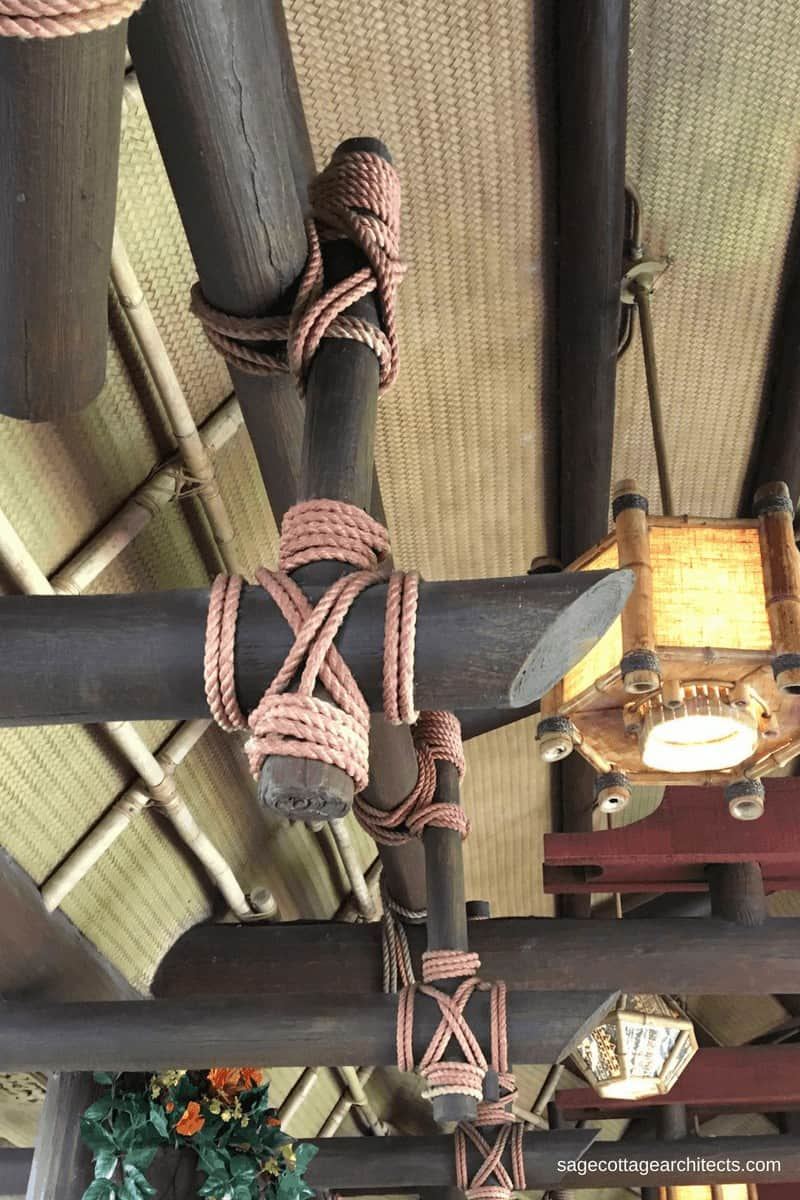 Tiki Room roof made of tied logs and bamboo matting in Walt Disney World