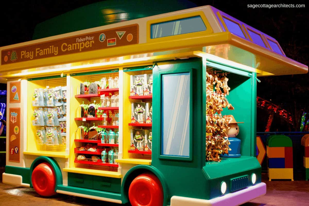 Life sized Fisher Price toy camper in Walt Disney World Hollywood Studios' Toy Story Land