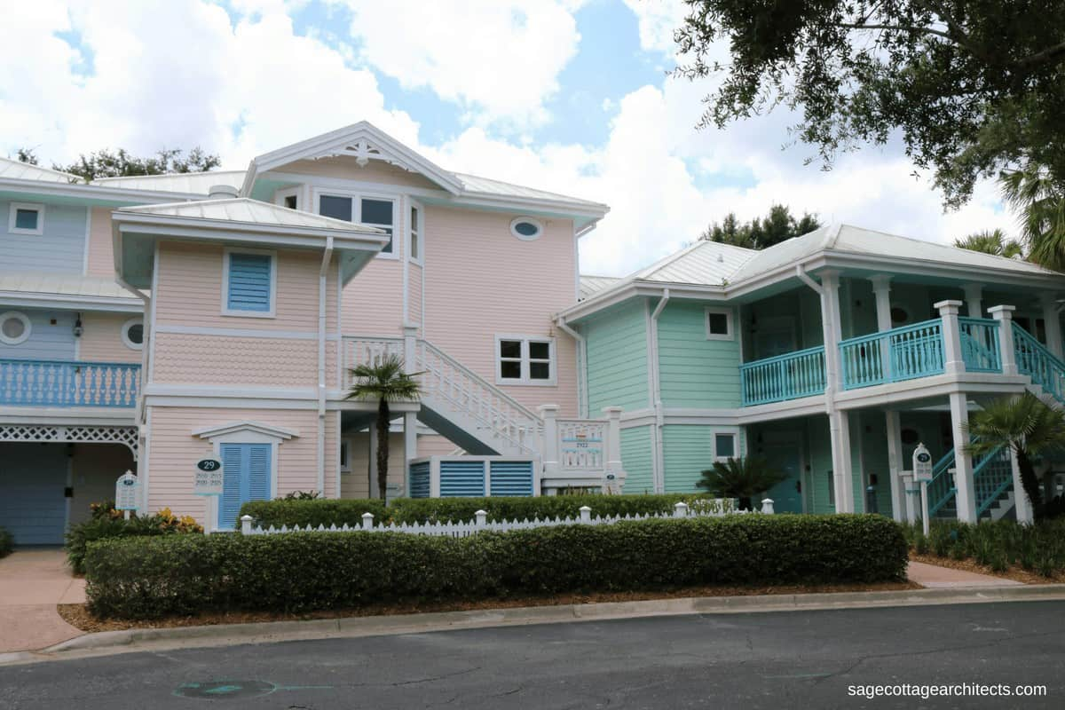 Pink and mint green pastel colored buildings at Disney's Old Key West Resort.