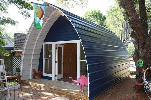 Arched Cabins prefab tiny houses with a blue roof