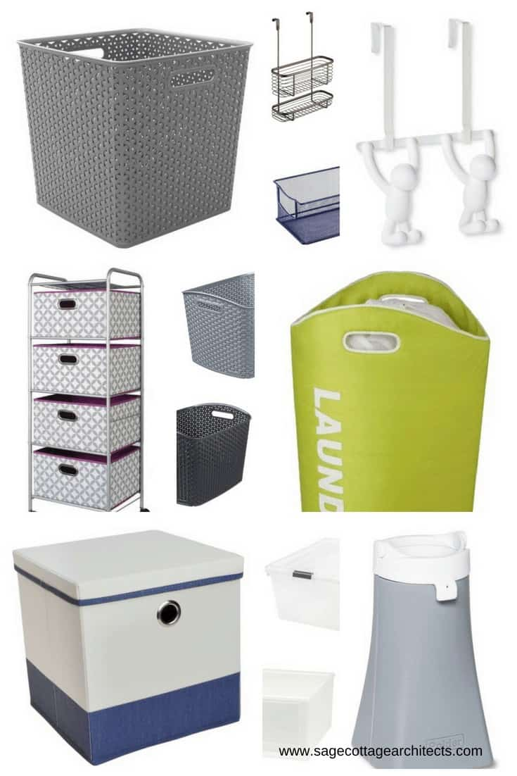 Photo collage of dorm room organizational products in dark grey.