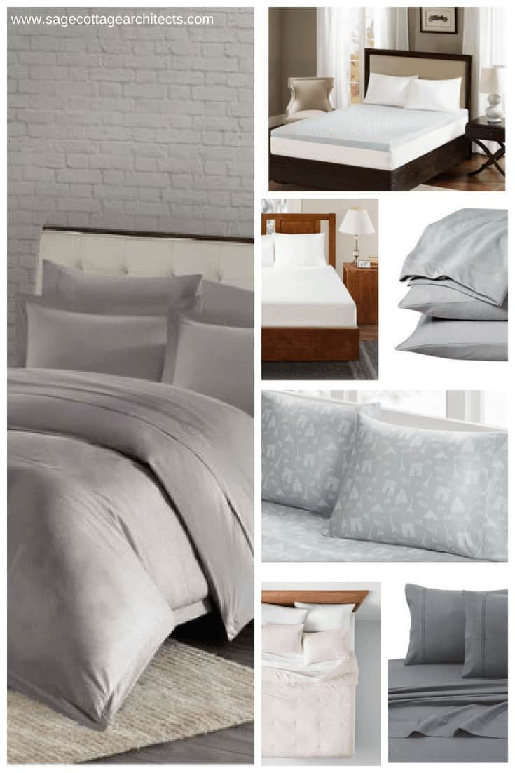 Photo collage of dorm room bedding in shades of grey