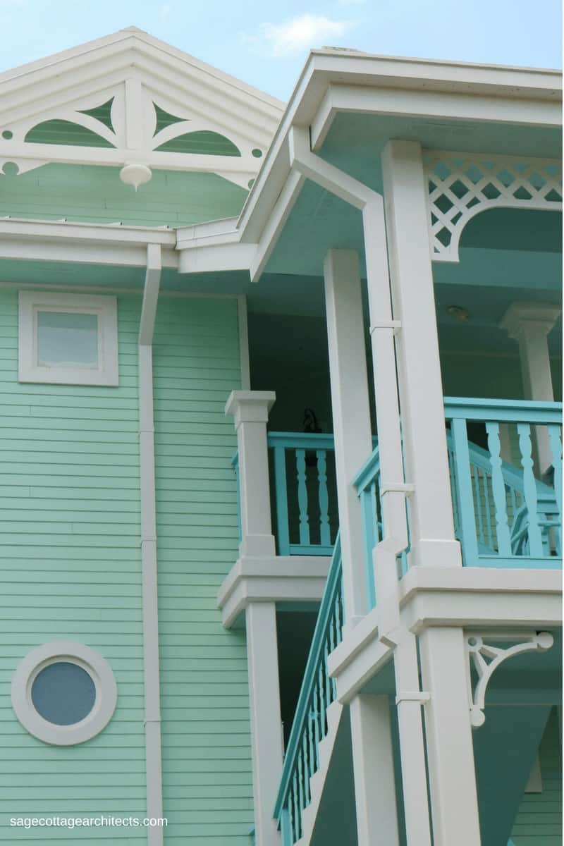 Disney's Old Key West Resort mint green building with white gingerbread trim.