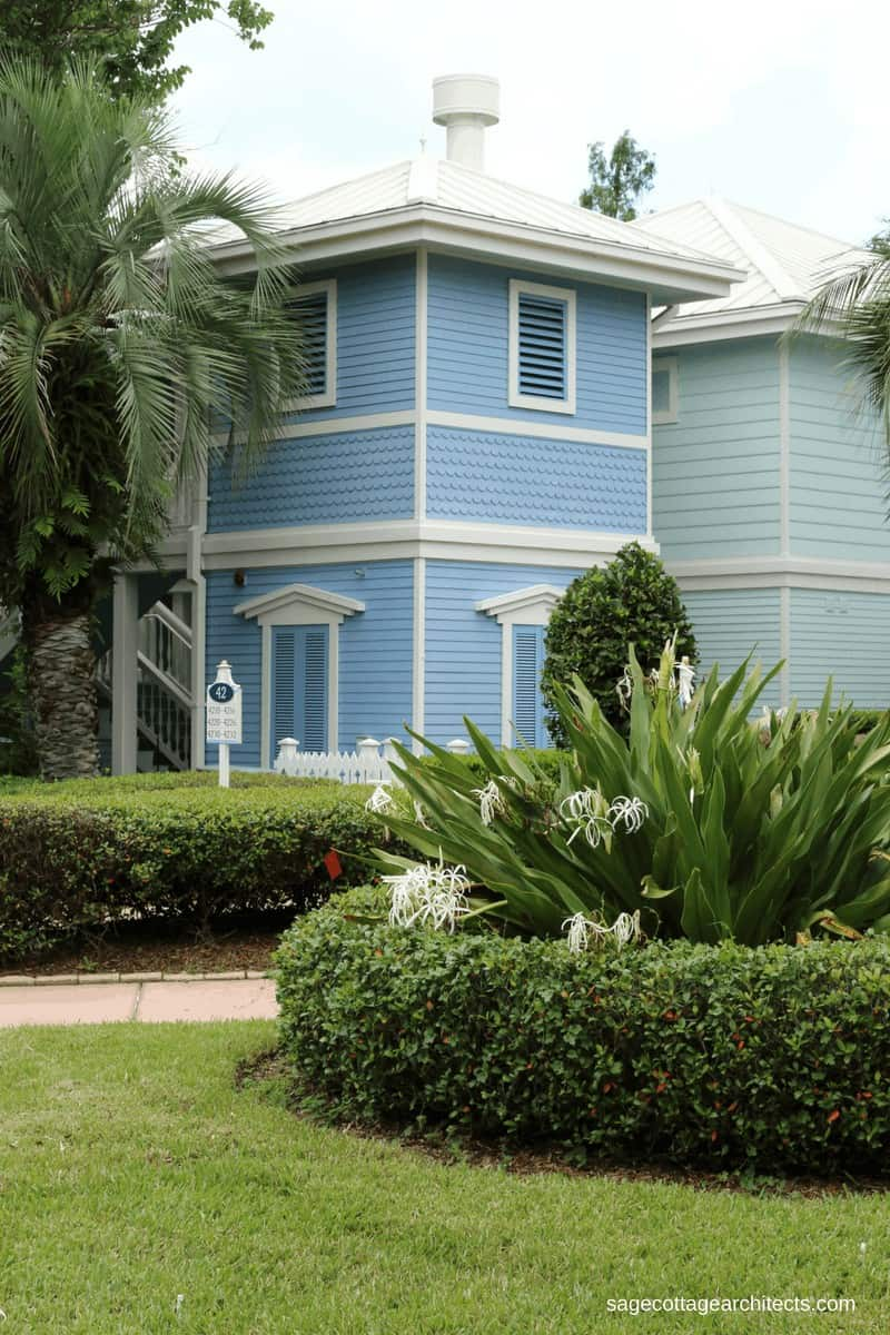 Disney's Old Key West Resort - blue building with white trim and grey metal roof.