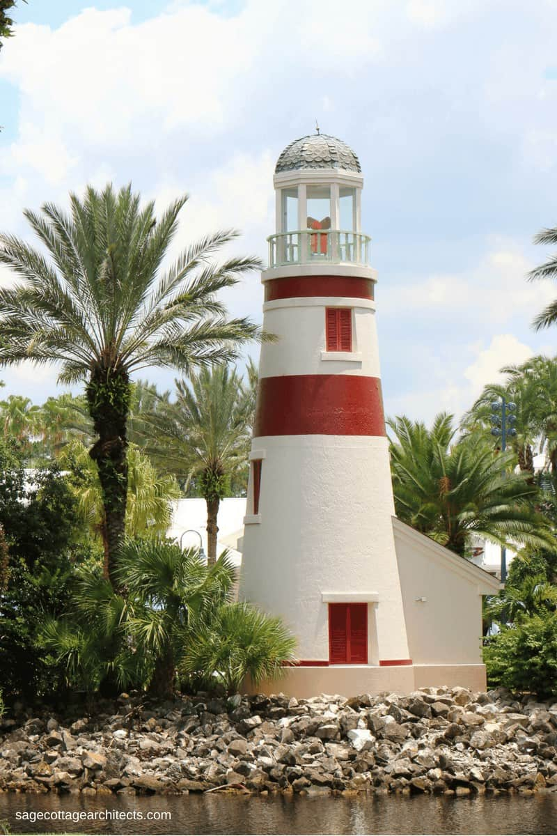 White and red striped lighthouse - Disney Old Key West Resort.