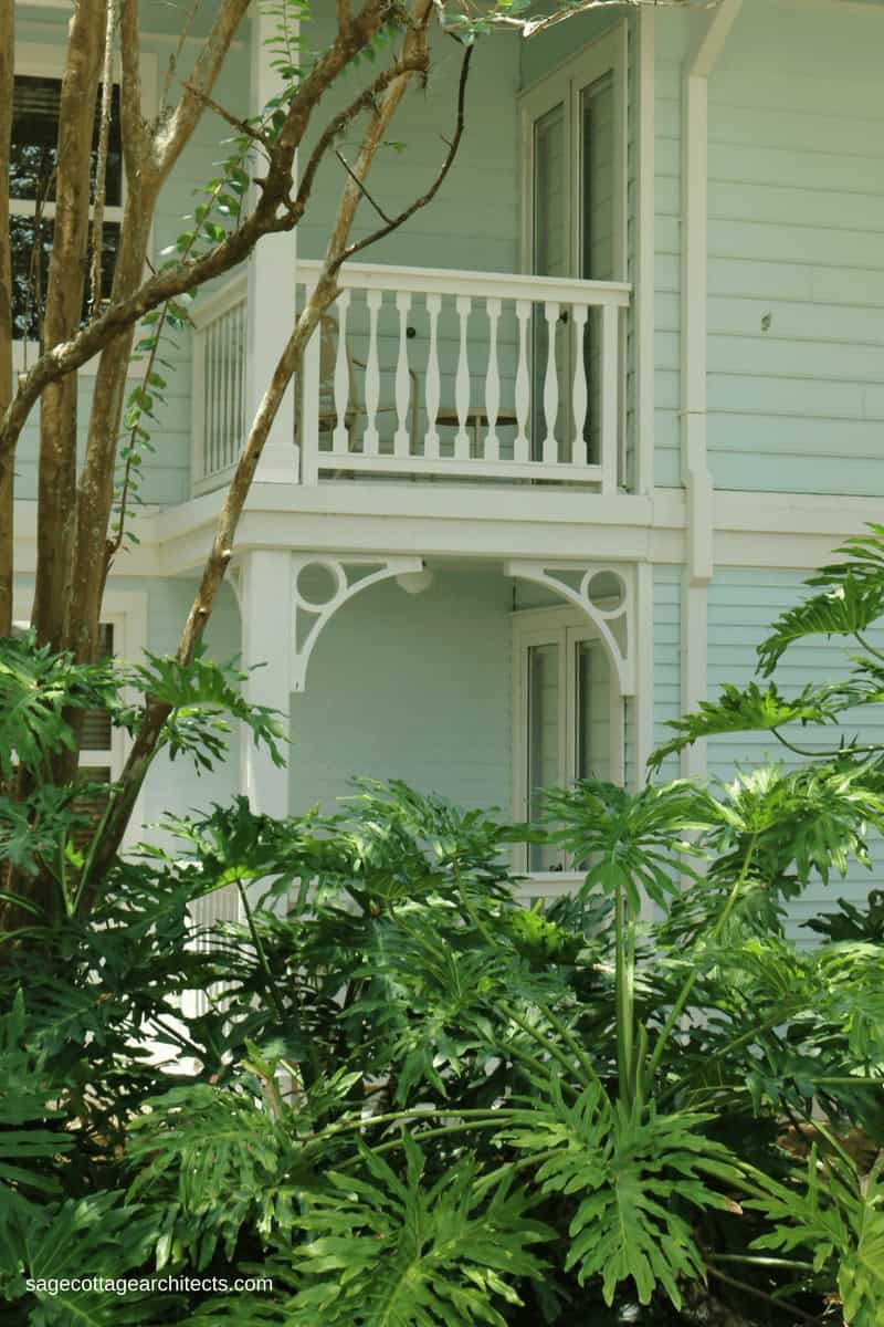 White gingerbread corbels at Disney's Old Key West Resort