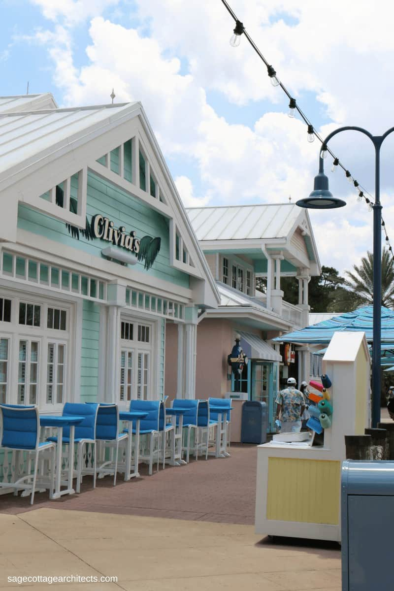 Lime green building with white gingerbread - Olivia's Cafe at Disney's Old Key West Resort