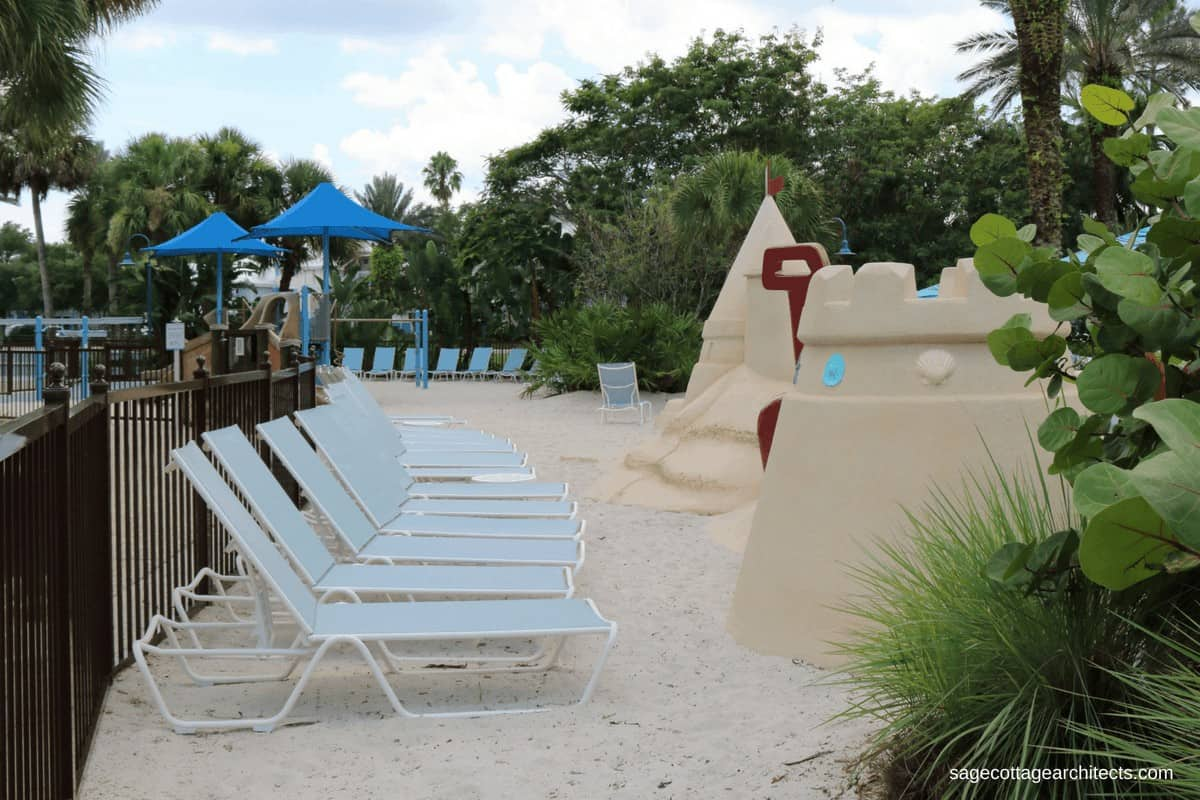 Disney's Old Key West Resort sand playground with lounge chairs.