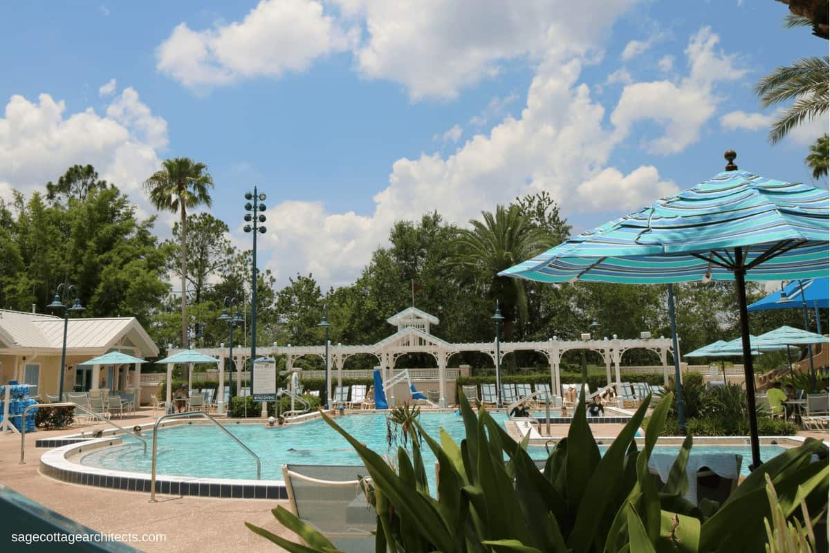 White gingerbread shade structure and swimming pool at Disney's Old Key West Resort