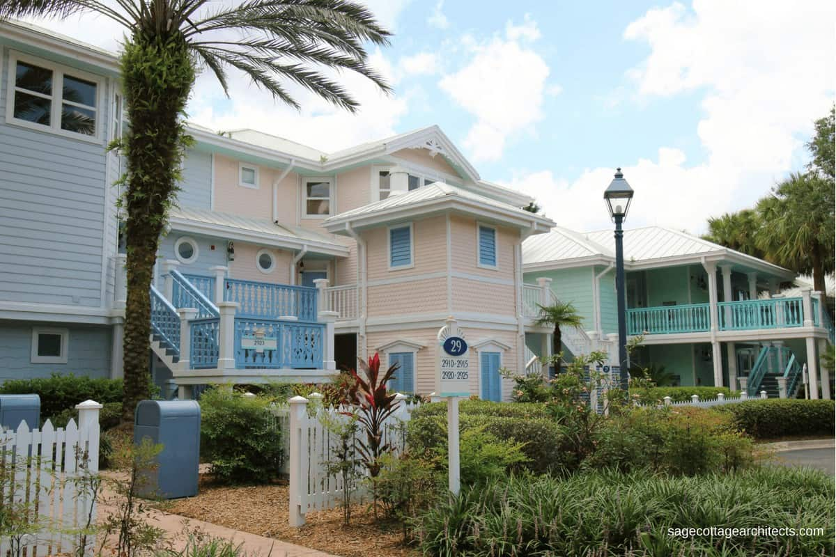 Disney's Old Key West Resort buildings in pastel pink, blue, and mint green.
