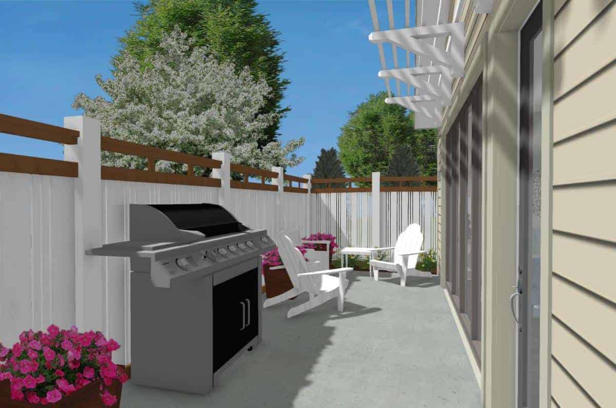 Exterior rendering of a patio space outside a garage conversion apartment.