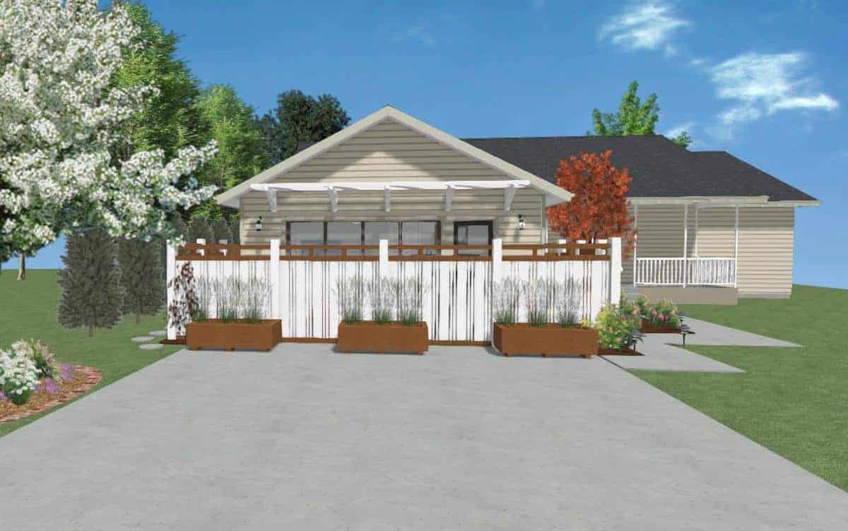 Drawing of the exterior elevation of a home with a garage conversion.