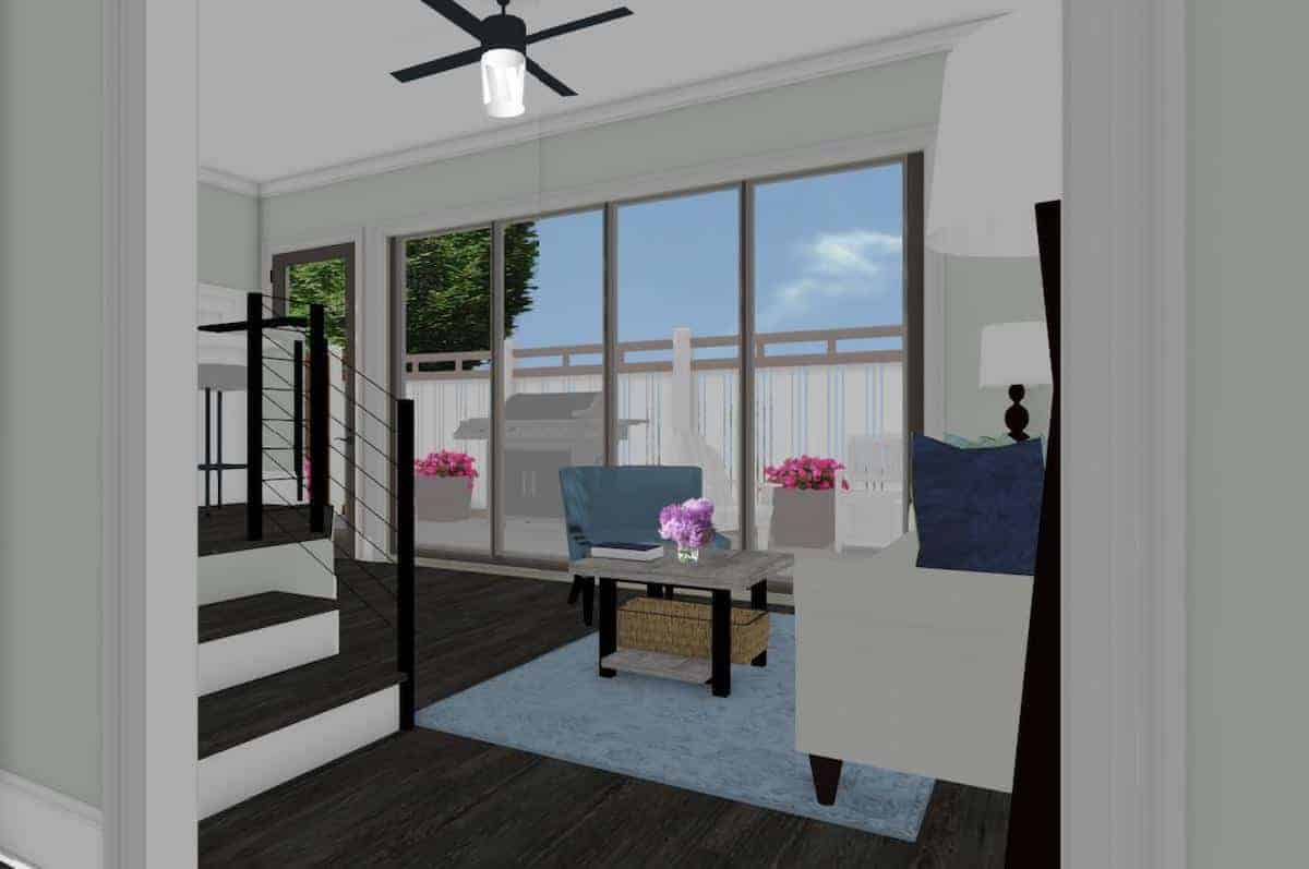 An interior rendering of the living room with a wall of glass in a garage conversion apartment
