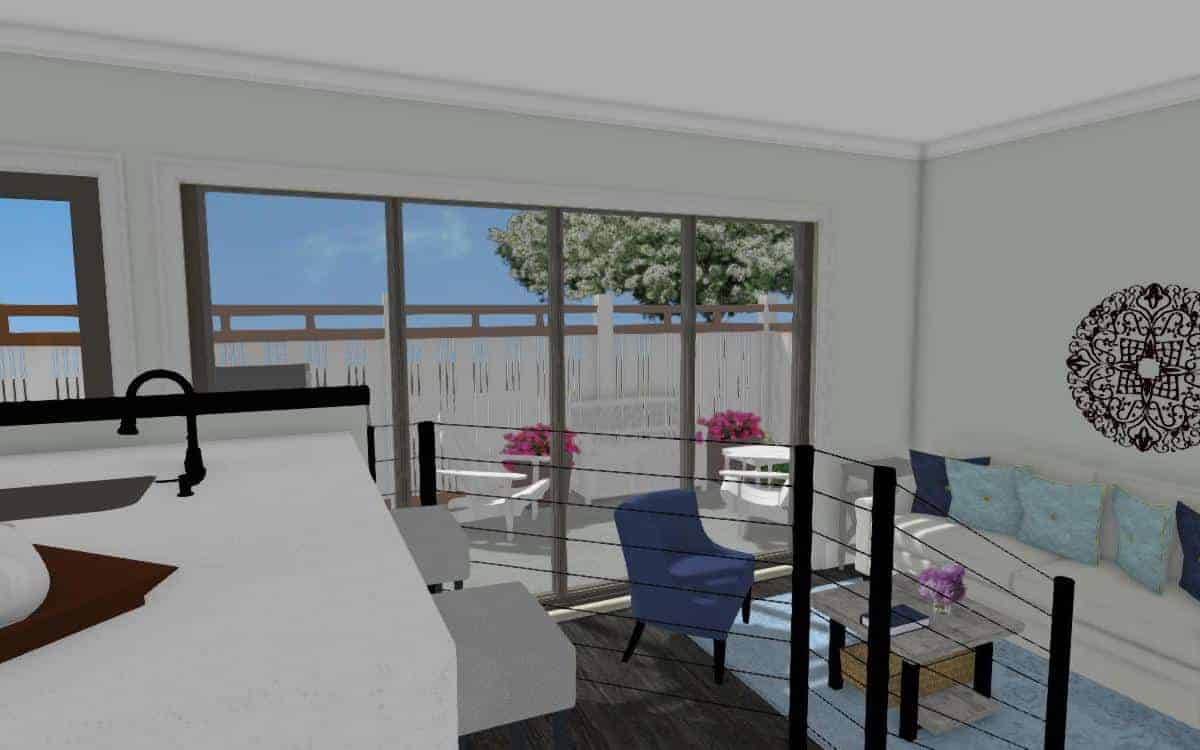 Interior drawing of raised kitchen area and open floor plan living room in a garage conversion.