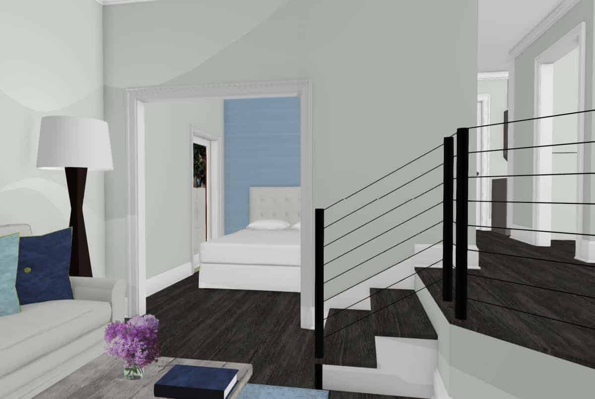 Colored drawing of the living room and bedroom of an open floor plan garage conversion.
