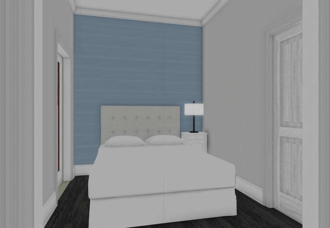 Rendered drawing of a grey bedroom with blue feature wall in a garage conversion.