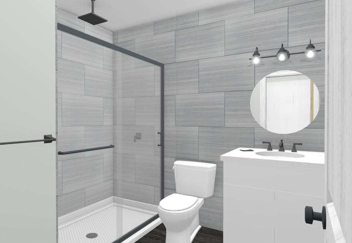 Colored drawing of a grey bathroom in a garage conversion.