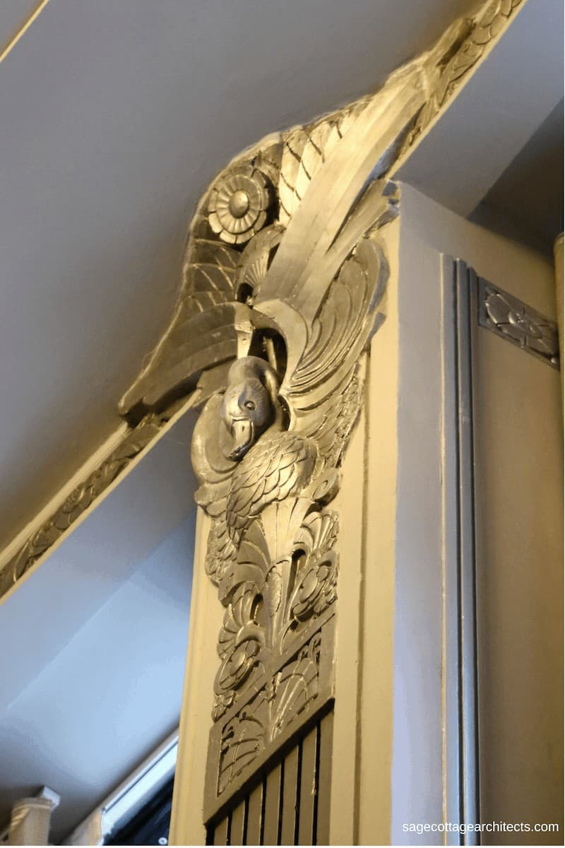 Silver Art Deco duck and flower wall decoration