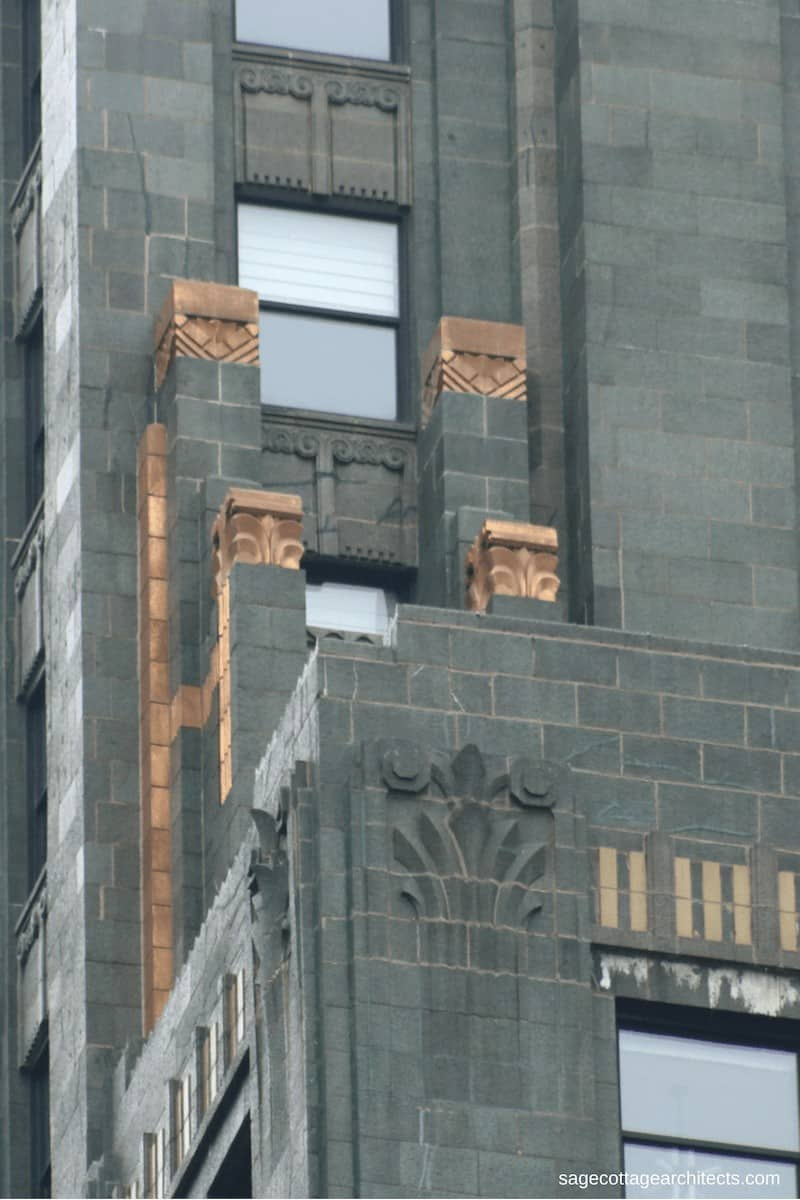 Stepped green terra cotta walls of the Carbide and Carbon Building.