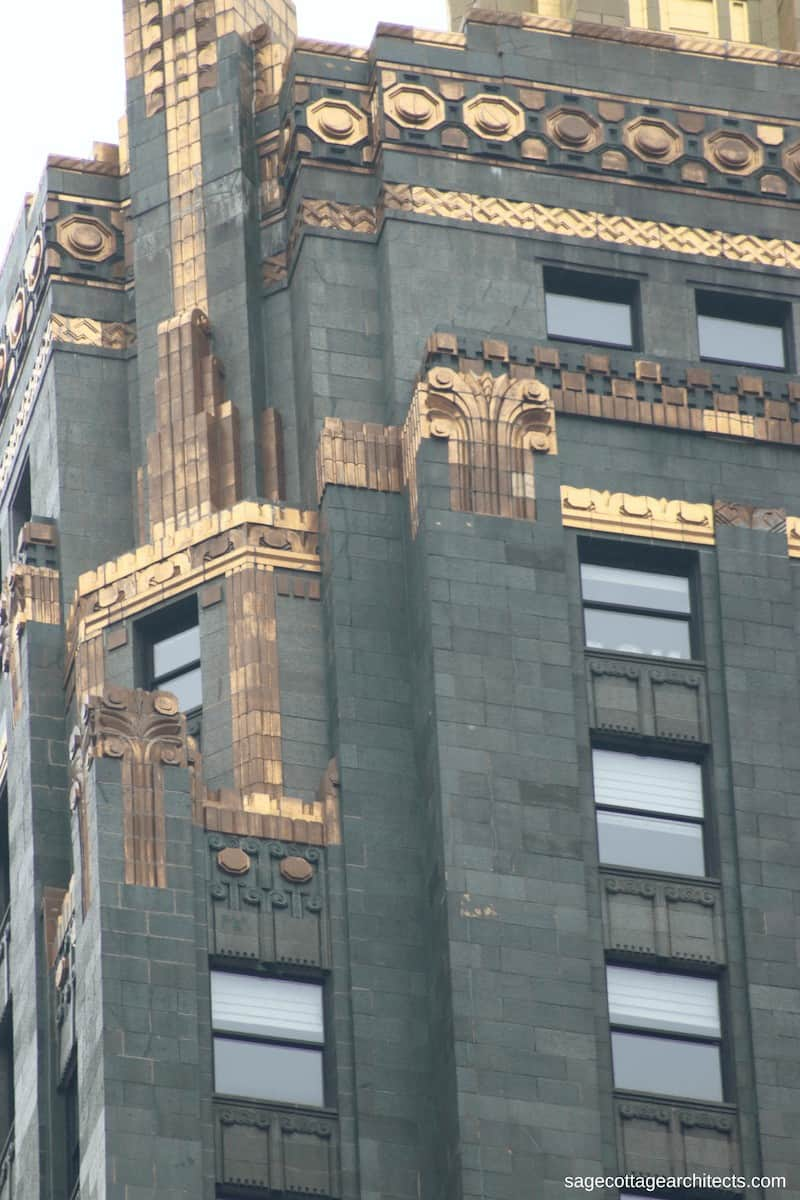 Bronze decoration on dark green terra cotta walls of the Art Deco Carbide and Carbon Building.