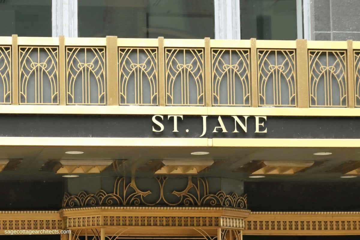 Art Deco bronze entrance canopy of the Carbide and Carbon Building.