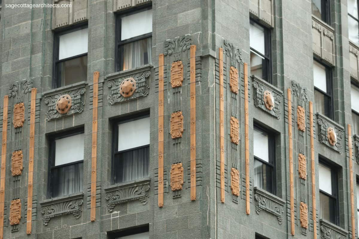 Green terra cotta walls and bronze Art Deco decoration on the Carbide and Carbon Building.