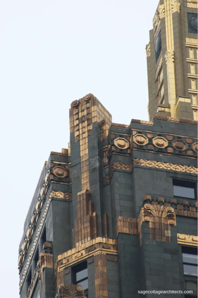 Bronze Art Deco ornamentation on top of the Carbide and Carbon Building tower