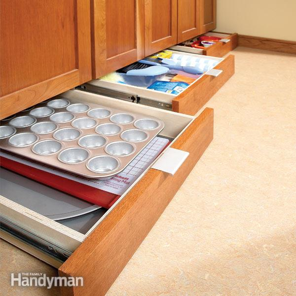 Baking equipment in drawers that slide under kitchen cabinets