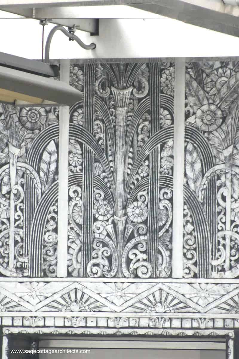 Art Deco Architecture - decorative nickel panel in a fountain design