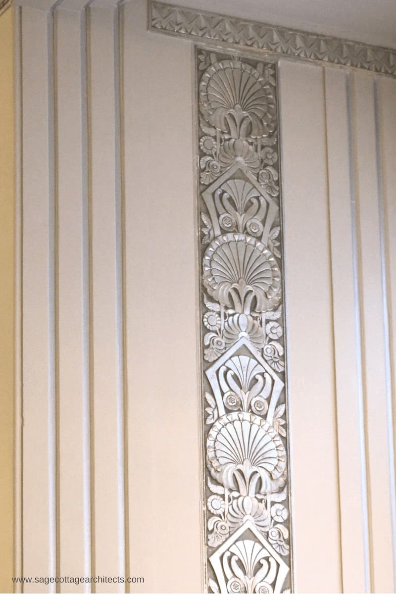 Art Deco Architecture - interior nickel carved relief panel