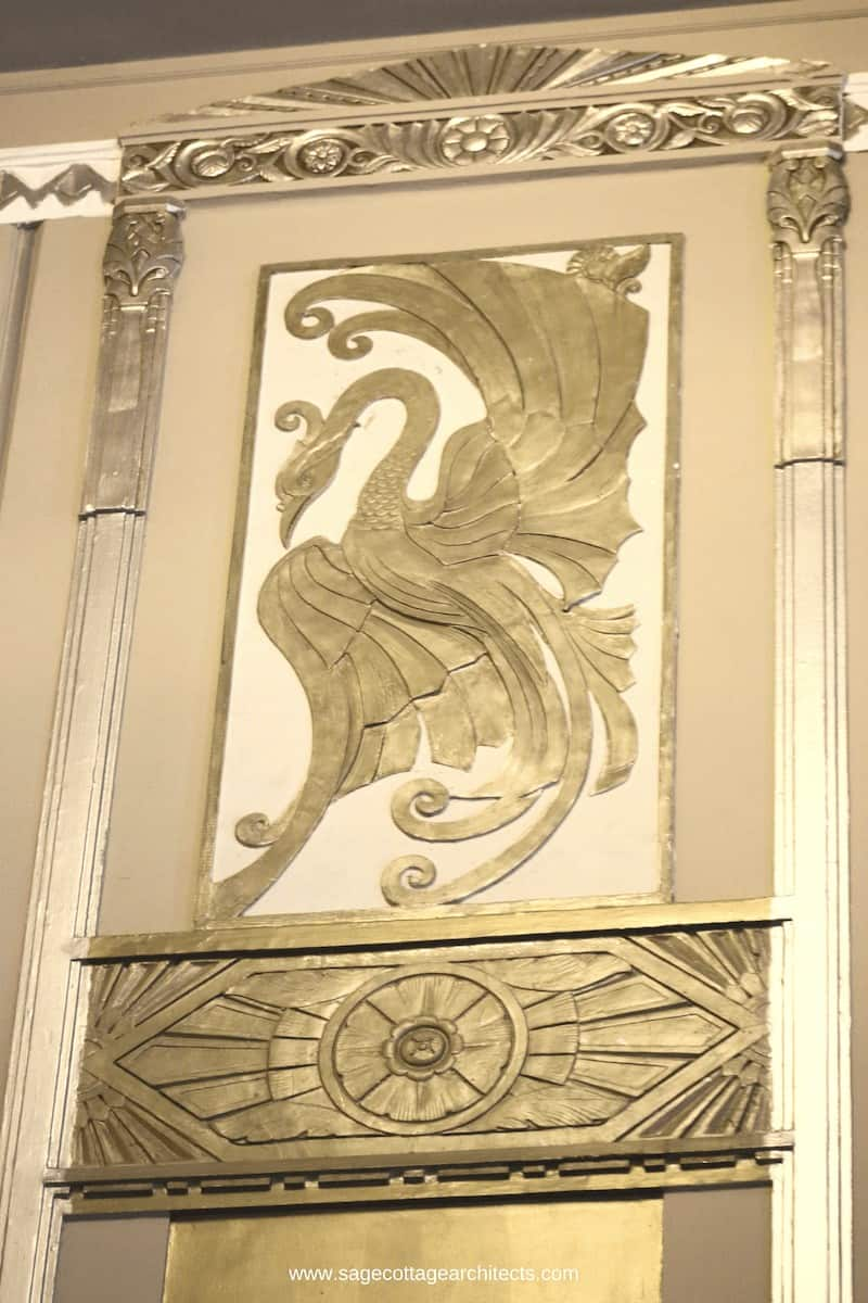 Art Deco nickel relief panel of a bird