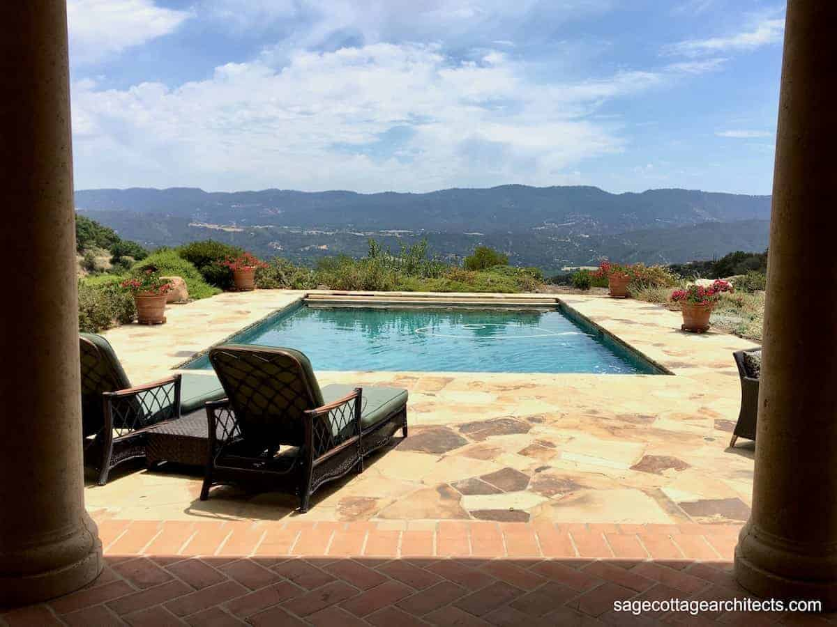 Photo of a beautiful pool and patio perfect for family vacation ideas.