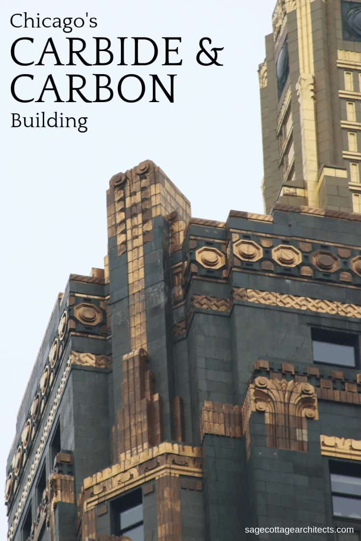 Collage of the top of Carbide and Carbon Building.
