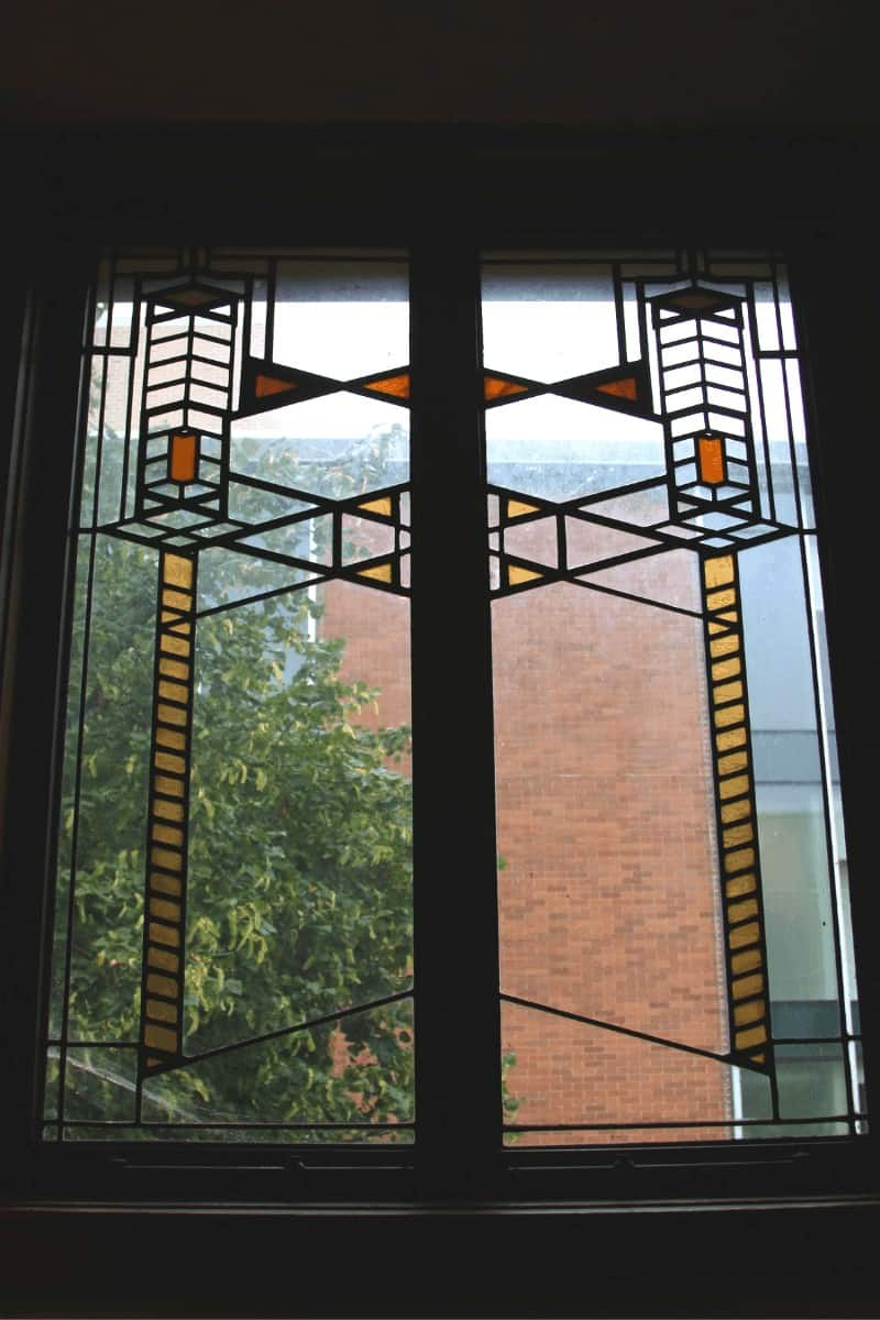 Close-up of Prairie style stained glass window