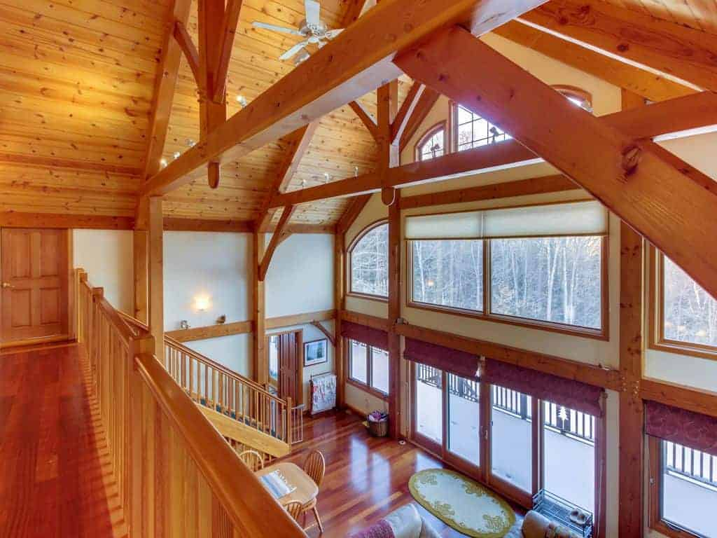 Interior photo of a timber framed ski vacation home.