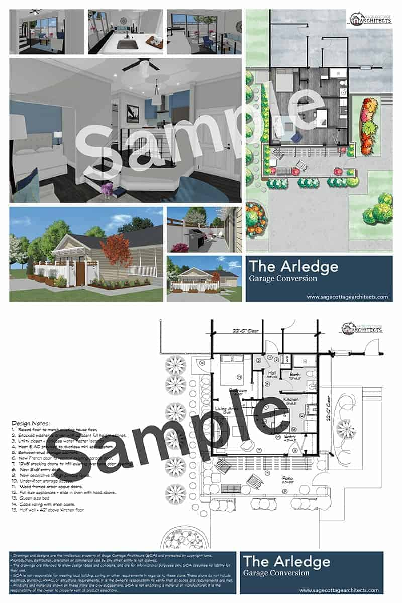 Collage of free garage conversion plan