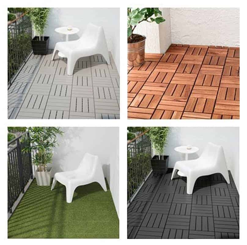 Photo collage of four balcony flooring deck tile options: light grey, wood parquet, grass, and dark grey.