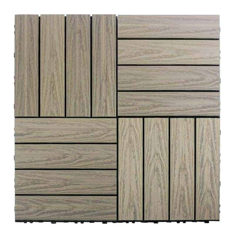 Photo of wood colored deck tile used in balcony flooring projects.