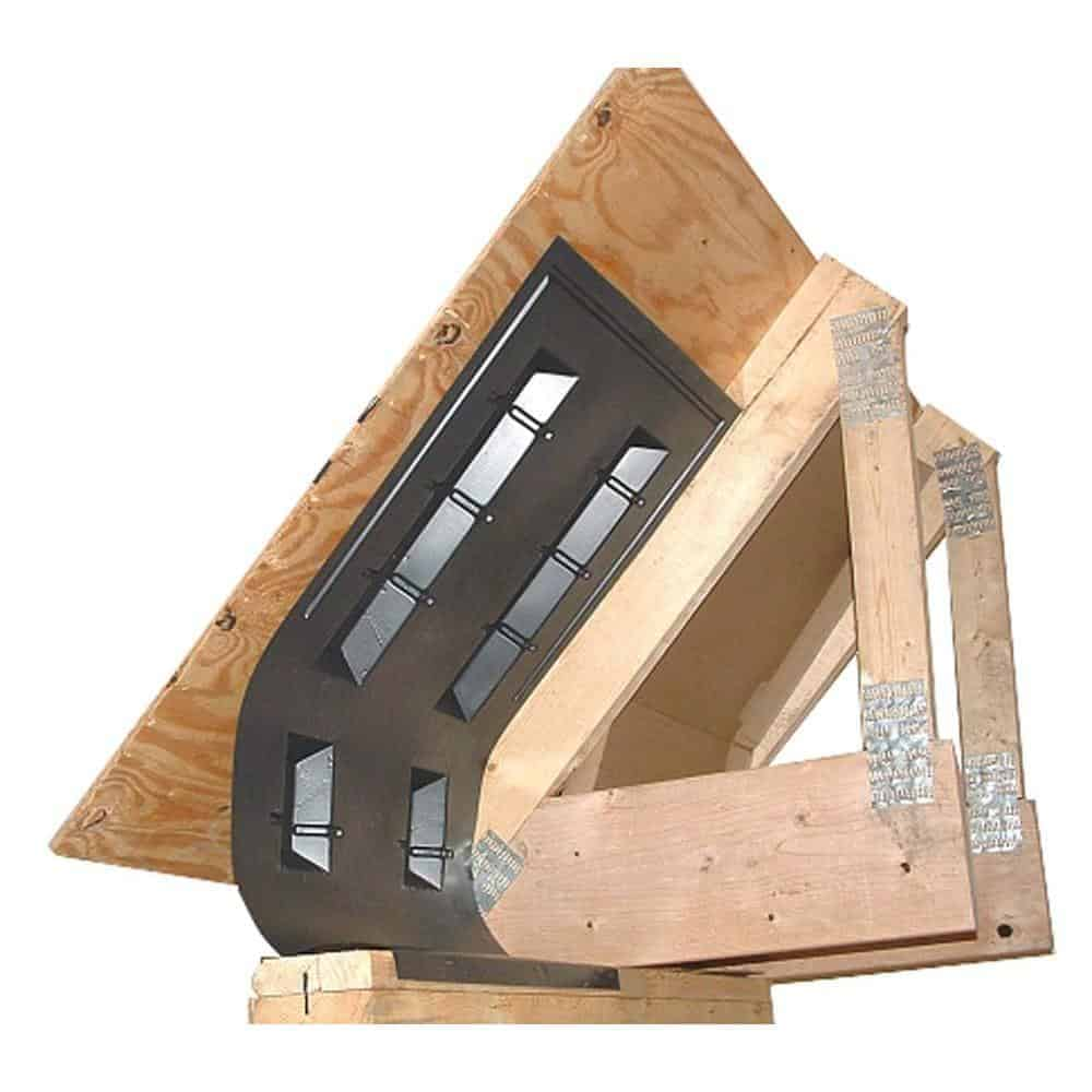 Photo of attic ventilation chute with wood truss and plywood roof sheathing.