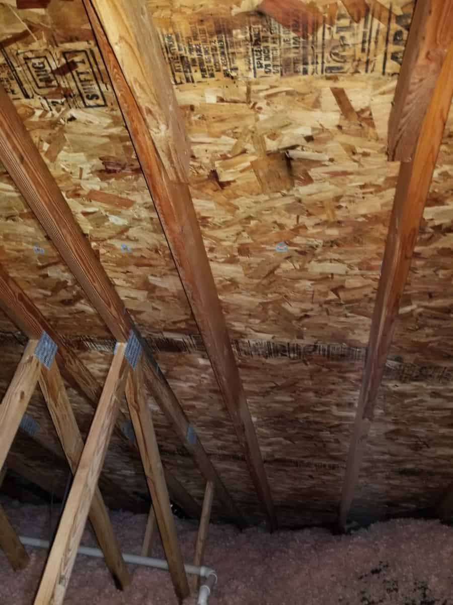 Photo of OSB roof sheathing after mold remediation.