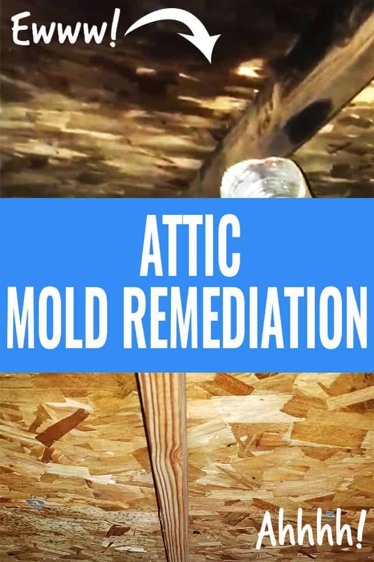 Photo collage of attic mold of roof sheathing, and after mold remediation.
