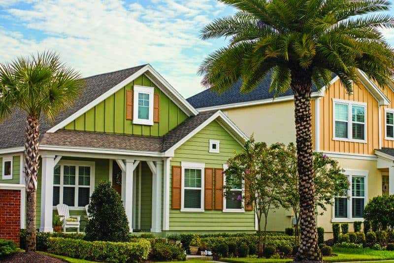 Photo of brightly colored bungalow homes.