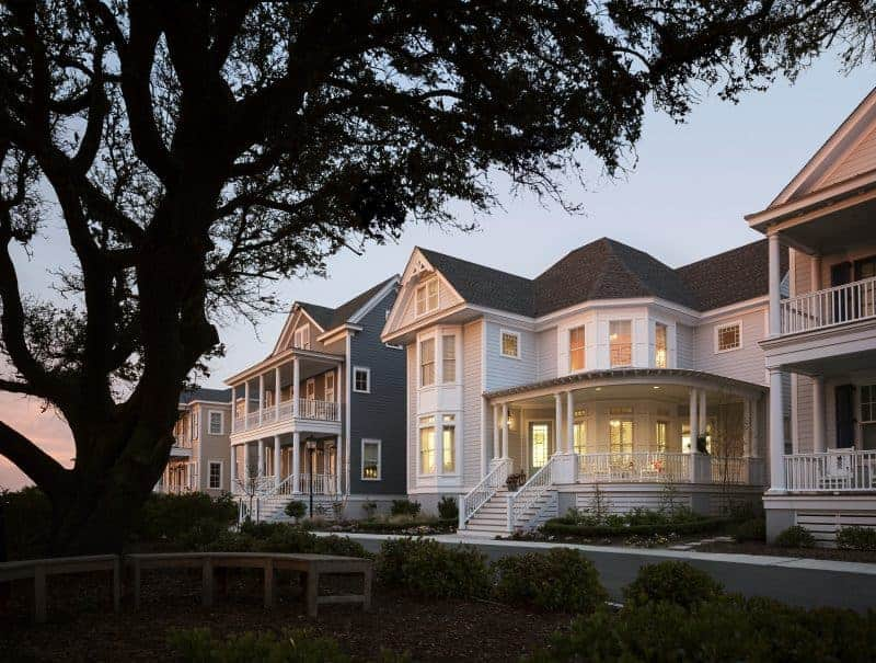 Photo of traditional homes with front porches that add curb appeal.