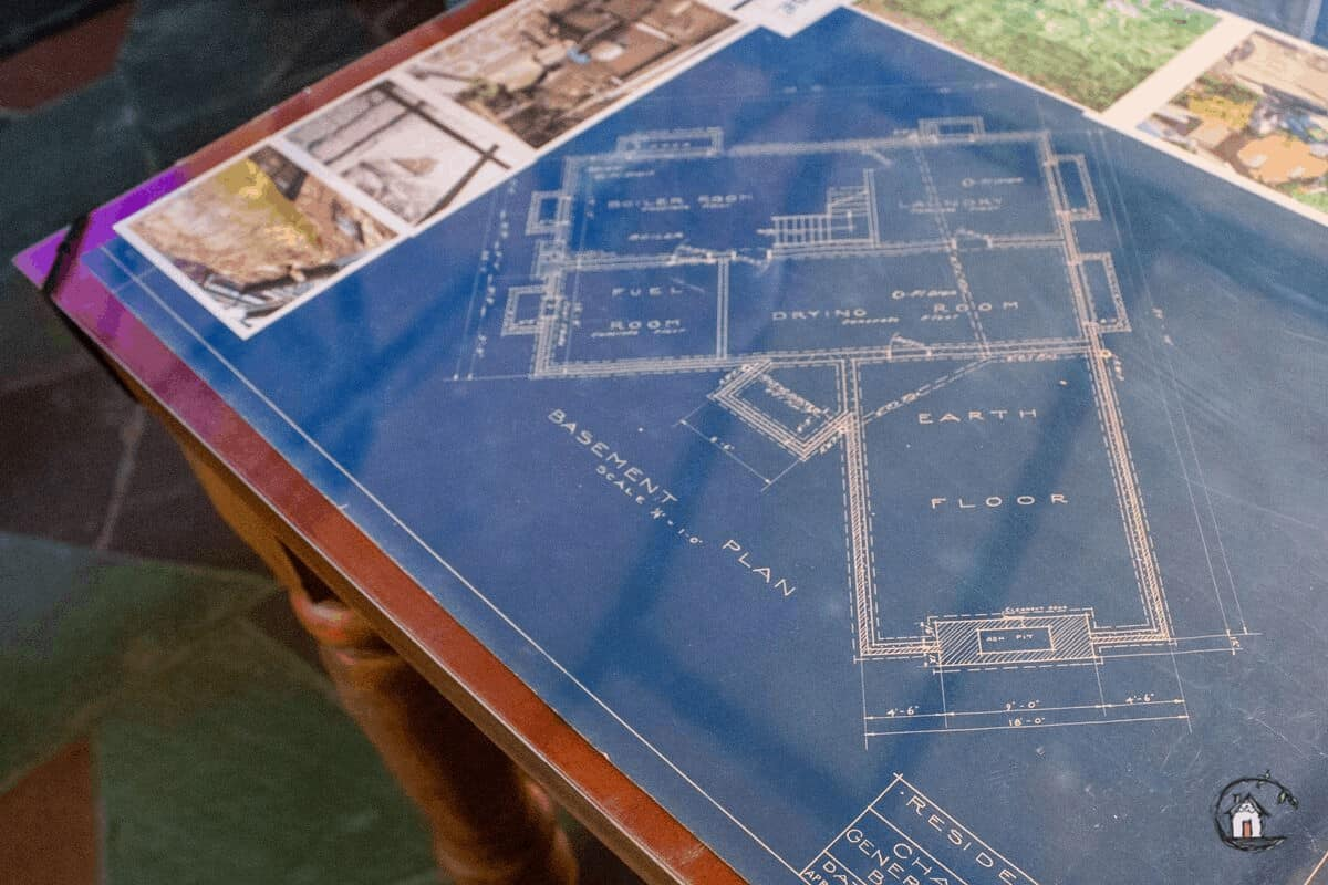 Photo of blueprints for a home on the old house tour.
