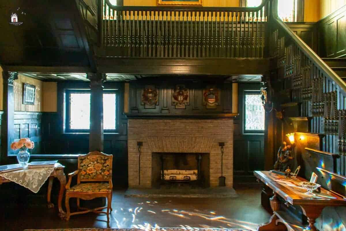 Photo of the inglenook fireplace inside the historic Vrooman Mansion.